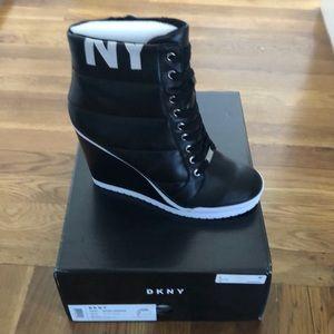 DKNY Black Wedge Sneakers